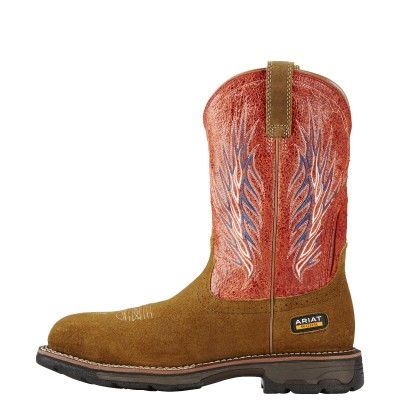 Ariat Workhog Mesteno II Composite Toe - Mens - Rough Brown/Fire