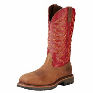 Ariat Men's Workhog Wide Square Composite Toe Boot - Distressed Brown Red
