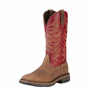 Ariat Men's Workhog Wide Square Toe Boot - Distressed Brown Red
