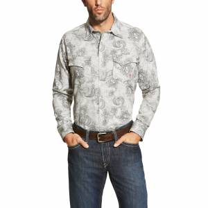 Ariat FR Milo Retro Shirt - Mens - Grey Paisley