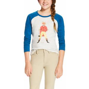 Ariat Girls Fox As Hunter Graphic Tee - Heather Grey