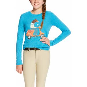 Ariat Girls Scootin Graphic Tee - Barrier Blue