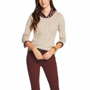 Ariat Women's Supimo Cable Knit Sweater - Oatmeal Heather