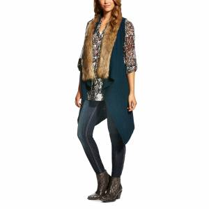 Ariat Fur Sweater Vest - Ladies - Nordic Indigo