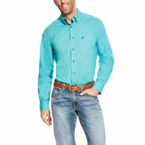 Ariat Atherton Long Sleeve Print Shirt - Mens -  Drift Turquoise