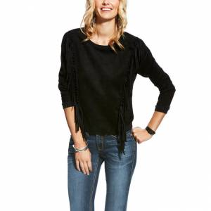 Ariat Faux Suede Fringe Pullover - Ladies - Black