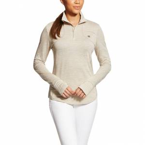 Ariat  Gridwork 1/2 Zip - Ladies - Oatmeal Heather