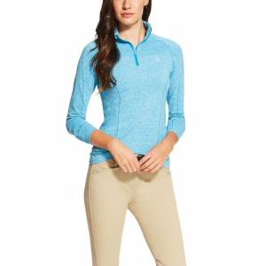 Ariat  Odyssey Seamless Long Sleeve 1/4 Zip - Ladies - Barrier Teal