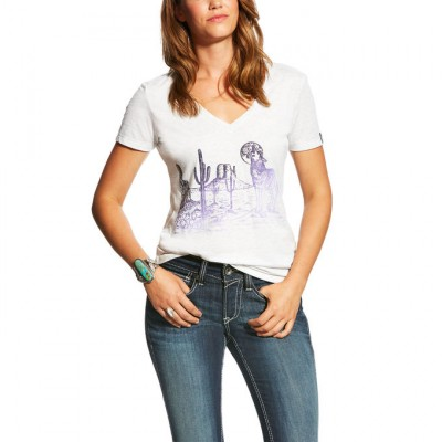Ariat Desert Wolf Tee - Ladies - White Heather