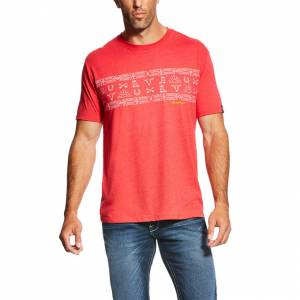 Ariat Native Stripe Tee - Mens - Red Heather