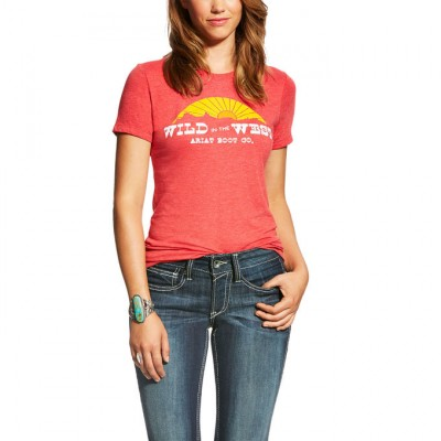 Ariat Wild In The West Tee -Red Heather