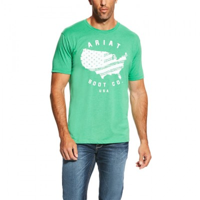 Ariat USA Boot Tee - Mens - Kelly Heather
