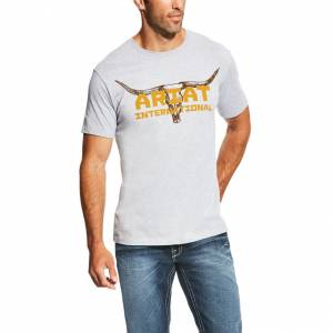 Ariat Longhorn Tee - Mens - Athletic Gray