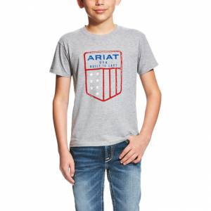 Ariat Us Shield Tee - Kids' - Athletic Gray