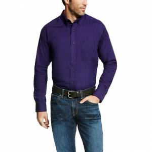 Ariat Solid Long Sleeve Poplin - Mens - Astral Aura