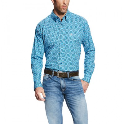 Ariat Fayd Long Sleeve Print - Mens -  Azure Thistle