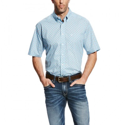 Ariat Falken Short Sleeve Print - Mens -  Blue Grotto