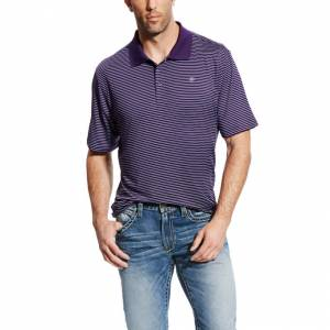 Ariat Mini Stripe Polo - Mens - Plum Depths