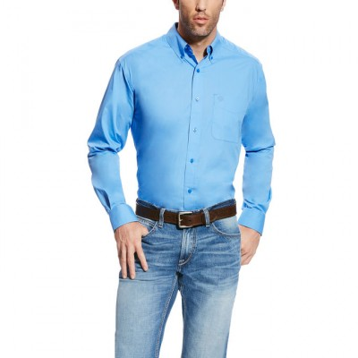 Ariat Solid Long Sleeve Poplin - Mens - Delphinium