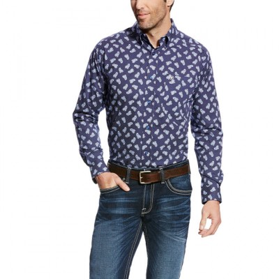 Ariat Duval Long Sleeve Print - Mens - Maritime Navy Ftd