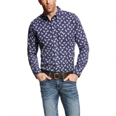 Ariat Duval Long Sleeve Print - Mens - Maritime Navy