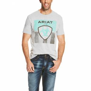 Ariat Stars & Stripe Tee - Mens - Athletic Grey
