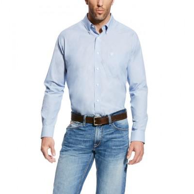Ariat Men's Wrinkle Free Kenzie Long Sleeve Shirt - Faded Blue Saga
