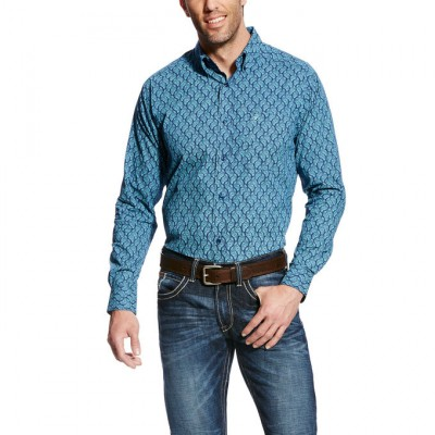 Ariat Men's Gavriel Long Sleeve Fitted Print - Mood Indigo