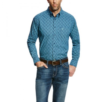 Ariat Men's Gavriel Long Sleeve Print - Mood Indigo