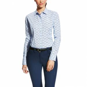 Ariat Ladies Woodside Shirt - Blue Bit Print