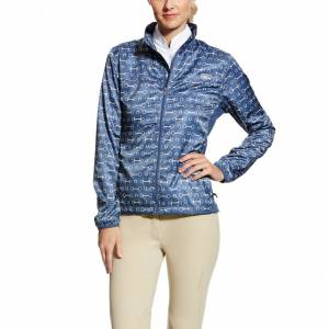 Ariat Ladies Ideal Windbreaker Jacket - Blue Bit Print