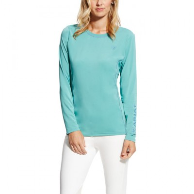Ariat Ladies Cambria Logo Long Sleeve Crew - Cold Plunge