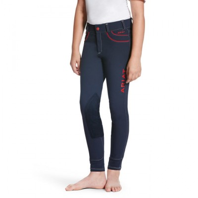 Ariat  FEI Olympia Acclaim Knee Patch Front Zip - Girl's - Navy/Red