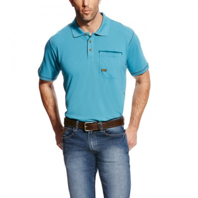 Ariat Rebar Polo - Mens - Larkspur