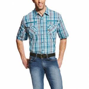Ariat Rebar Short Sleeve Work Shirt - Mens - Larkspur Plaid