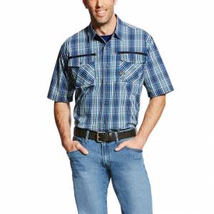 Ariat Rebar Short Sleeve Work Shirt - Mens - Navy Plaid