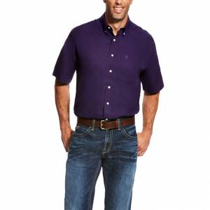 Ariat Wrinkle Free Solid Short Sleeve Shirt - Mens - Plum Depths