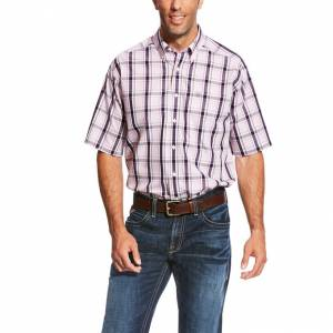 Ariat Wrinkle Free Payden Plaid Short Sleeve Shirt - Mens - Quiet Lilac