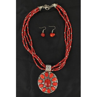 Coral Concho Multi-Strand Necklace and Earrings Set