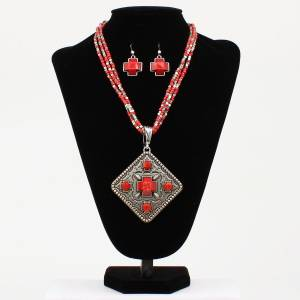 Diamond Cross Style Multi-Strand Necklace and Earrings Set