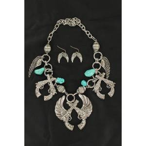 Winged Pistols Necklace and Earrings Set