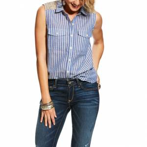 Ariat Sequin Stripe Shirt - Ladies - Navy
