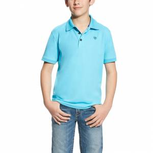 Ariat Tek Polo - Boys - Blue Atoll