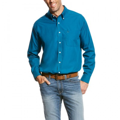 Ariat Wrinkle Free Solid LS Shirt - Men's - Fluid Teal