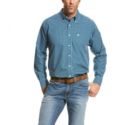 Ariat Wrinkle Free Underwood Plaid Shirt - Men's - Fluid Teal