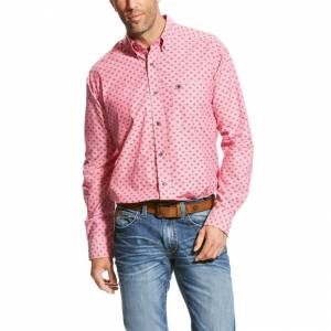 Ariat Tanberg Long Sleeve Print Shirt - Mens - Coral Fan