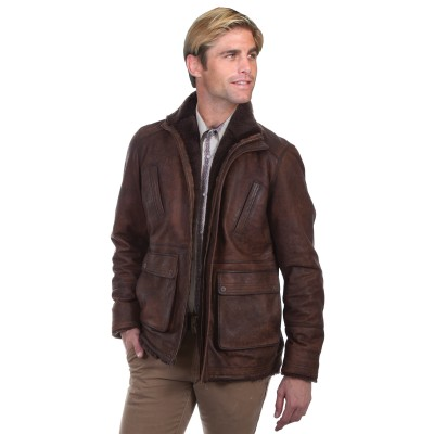 Scully Car Leather Coat with Shearling