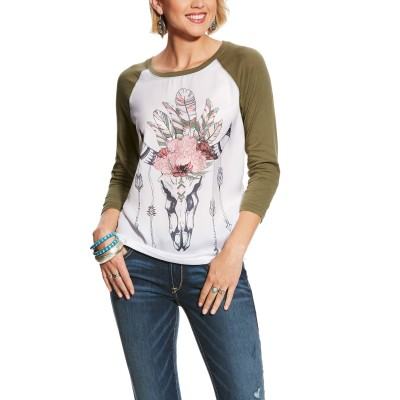 Ariat Ladies Feather Crown Raglan Tee