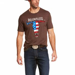 Ariat Mens Relentless American Flag Skull Short Sleeve T-Shrit