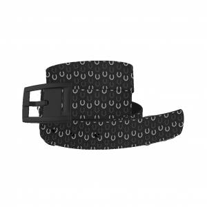 C4 Belt Black Horseshoes Belt with Black Buckle Combo